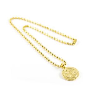 Gargantilla estilo militar con medalla San Benito Abad de bronce con baño de oro amarillo.