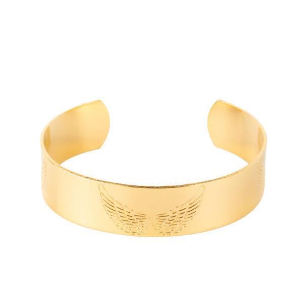 Cuff Wanderlust de bronce con baño de oro amarillo 18k.