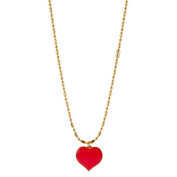 Gargantilla Colorful Love Roja cadena bronce bañada en oro amarillo 24k.