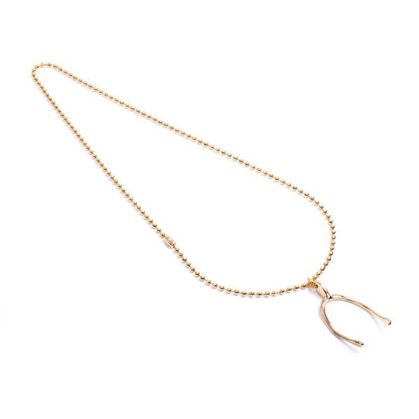 Cadena militar facetada con dije Wishbone XL de bronce con baño de oro amarillo 18k.