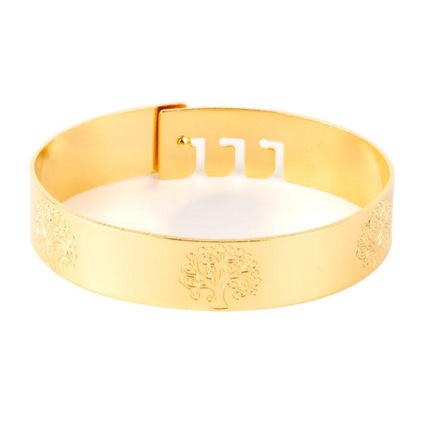 Cuff Cábala de bronce con baño de oro amarillo 18k.