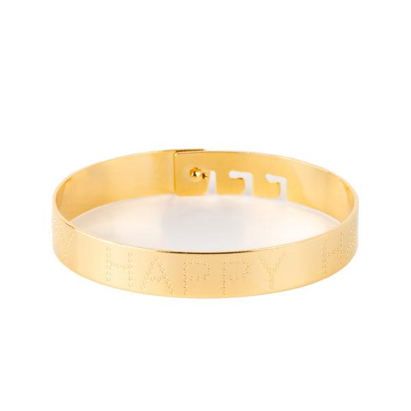 Cuff Happy de bronce con baño de oro amarillo 18k.