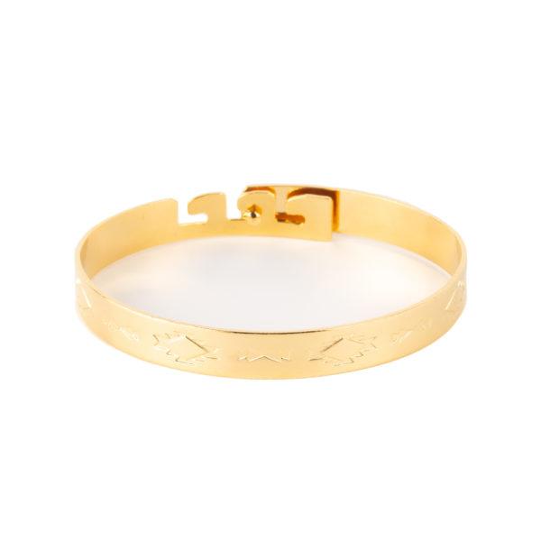 Cuff India de bronce con baño de oro amarillo 18k.