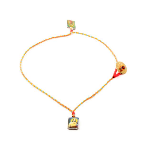 Escapulario Sagrado Corazón de Jesus y La Guadalupe oro amarillo.