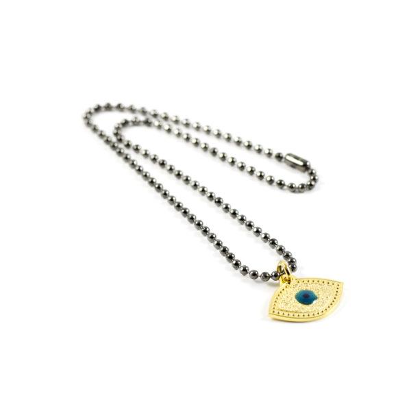 Gargantilla Lucky Eye con baño gris titanio / oro amarillo.