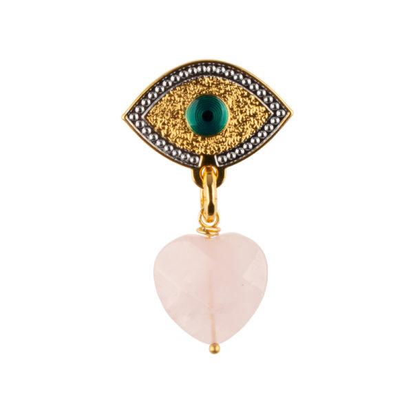 Pendiente Lucky Eye de bronce con baño de oro amarillo y corazón tallado a mano en Cuarzo Rosa.