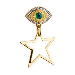 Pendiente Lucky Star de bronce con baño de oro amarillo 24k.
