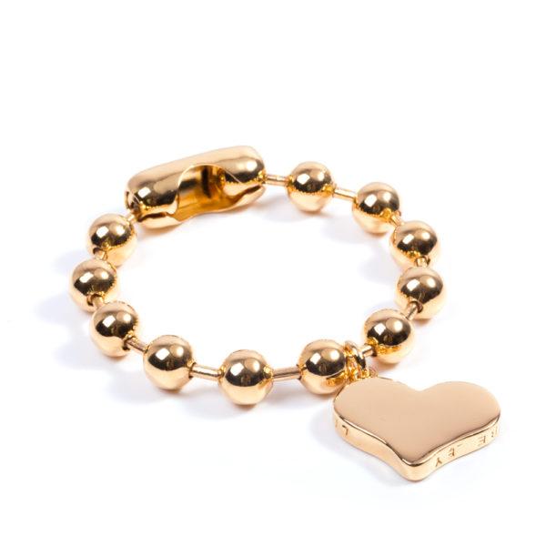 Pulsera militar 10mm en bronce con dije Corazón Liebe oro amarillo