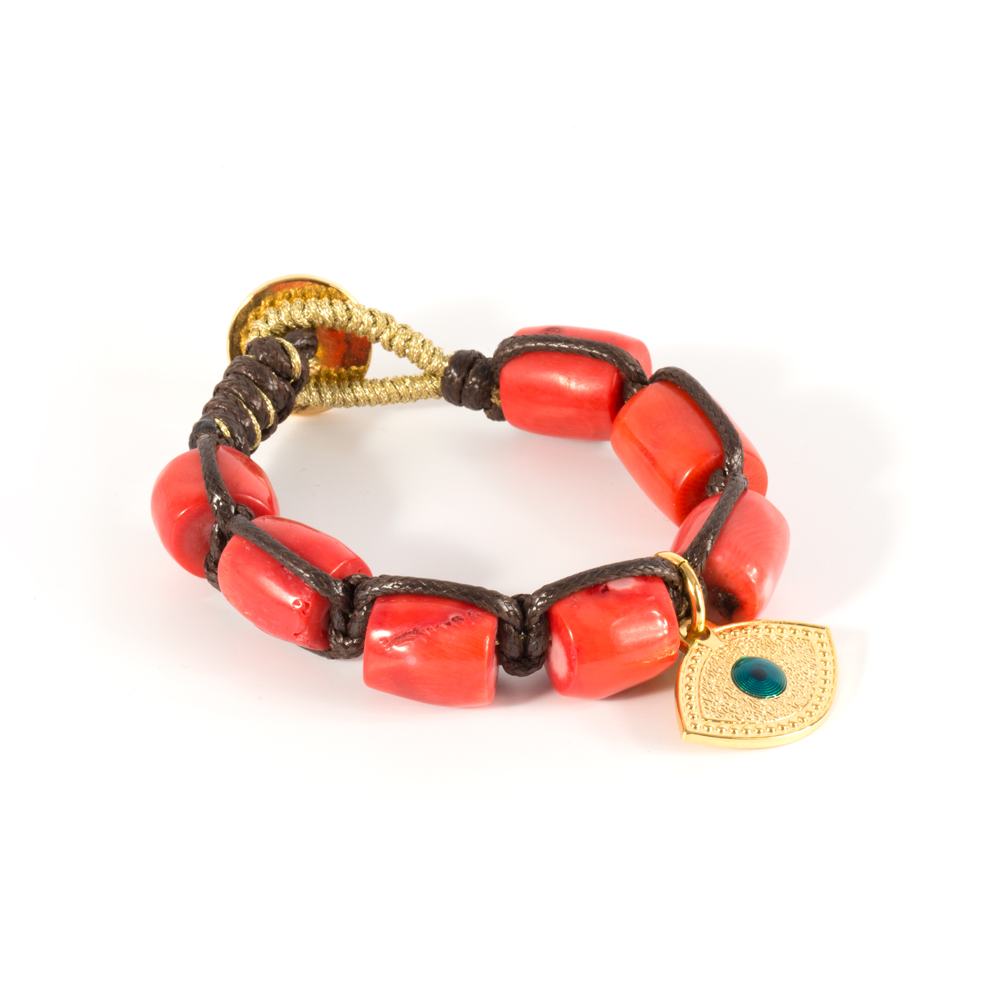 Orange Coral Donuts BraceletLucky Eye