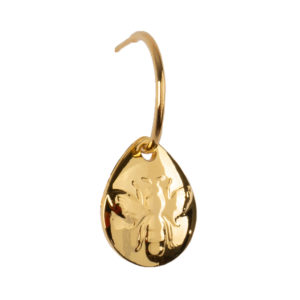 Pendiente Abeja de bronce con baño de oro amarillo 24k.