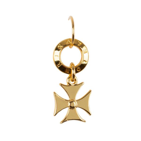 Pendiente Cruz Paté de bronce con baño de oro amarillo 24k.